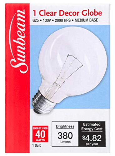 Sunbeam Decor Globe Light Bulb 380 Lumen 40 Watts 2/Pack - Vanity Bath Fixtures