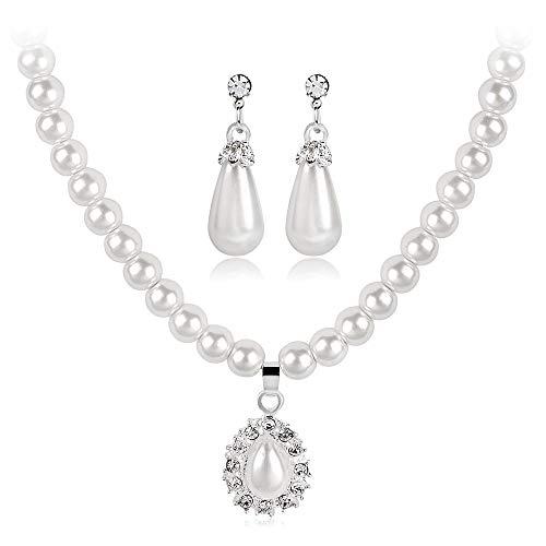 Conjunto de aretes para mujer Conjunto de joyas para mujer Pendientes y collar de perlas de plata con lágrima blanca Circonita cúbica Pendientes colgantes y colgante Novia Joya de fósforo Vestido de j