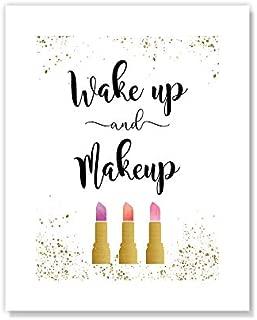 Casa Fine Arts Wake Up & Makeup Glam Vogue 唇膏女性档案版印刷艺术印刷品 20.32 cm x 25.4 cm 金色