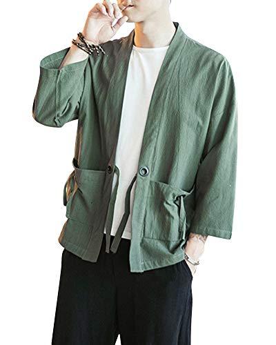Shaoyao Hombres Kimono Camisa Chaqueta Retro Tradicional Estilo Chino Abrigos