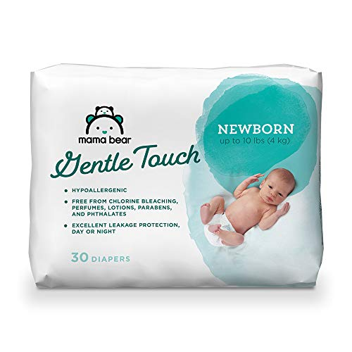 Amazon Brand - Mama Bear Gentle Touch Diapers, Hypoallergenic, Newborn, 30 Count