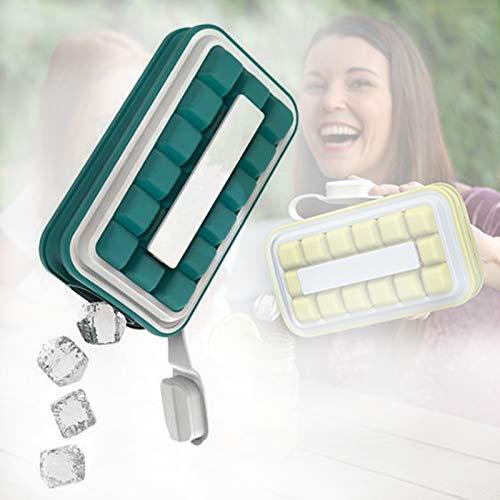 Las Bandejas Reutilizables para Cubitos De Hielo con Tapa De Silicona para Congelador Son Pequeñas, Ligeras Y Fáciles De Almacenar.Cubitos De Hielo Puede Prevenir Eficazmente Los Olores,Lake Blue