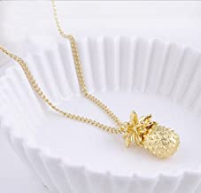 konkanok shop Fashion Pineapple Cute Fruit Charm Gold Plated Long Chain Necklace Jewelry Gift