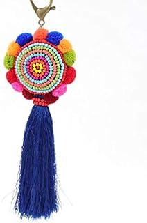 Schlüsselanhänger, Ethno-Stil, für Partys, Mädchen, mit Quaste, Schlüsselanhänger, Handtasche, Geldbörse, Anhänger, Geschenk, Plüsch, blau, 21 cm