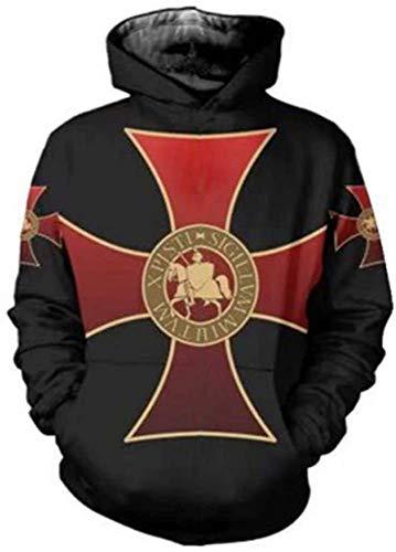 NFGHK Caballeros Templarios Sudadera con Capucha Medieval Armor Cross Sweater 3D Print Pullover Cosplay Sudadera Disfraz