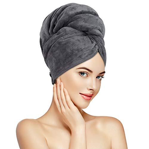 Sunland Microfiber Hair Towel Wrap for Women Super Absorbent Quick Dry Magic Hair Turban for Drying Long Hair Soft and Large 24 inch X 43 inch Grey
