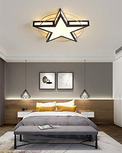 45W Modern LED Deckenleuchte Schwarz Pentagramm Deckenlampe Geometrisch Beleuchtung Büro Wohnzimmer Decke Licht Innenbeleuchtung Für Esszimmer Schlafzimmer Variable Farbtemperatur Ø52*6CM