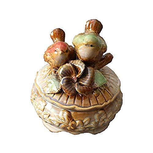 kglkb Escultura Decorativa Salon,Decoración Escultura Estatuilla Arte Interior Al Aire Libre Palacio Femenino Europeo Princesa Adorno De Pájaro De Cerámica Decoración Anillo Almacenamiento De Reloj