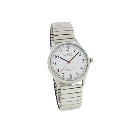 Cosmo 281116-Zi ZB Bianco Orologio da uomo orologio con fascia in acciaio inox 3analogico argento