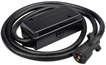 ClearMax 7 Way Trailer Plug Heavy Duty Inline Trailer Cord with 7 Gang Junction Box, Weatherproof - 8 feet (Black)