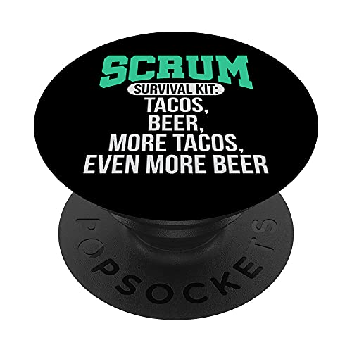 Tacos Beer Scrum Agile Project Management Funny PM Coach PopSockets PopGrip Intercambiable