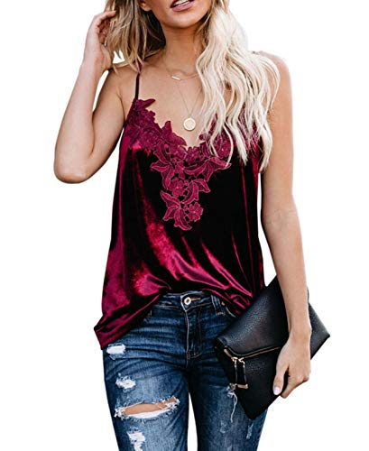 lime flare Women Sexy Sparkle Crushed Lace Trim Cami Tank Top Silk Satin Velvet Camisole Shirt (Burgundy Whimsical Velvet,Large(US 12-14))