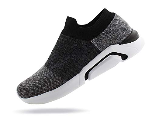 JABASIC Mens Knit Atheletic Walking Shoes Lightweight Easy Walk Slip On Sneakers (9 B(M) US, Grey/Black)