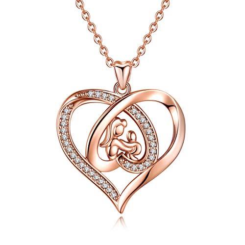 EUDORA Collar para Madre Colgante de Oro Rosa con Corazón para Mama, Collar de Madre e Hija Hijo, Regalos para tu Madre Mama Hija, Regalo del día de la Madre