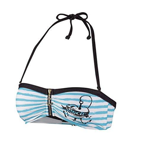 Beco Beermann Damen Bikini-Top, C-Cup Sailors Romance Bikinioberteil, türkis/Schwarz, 36