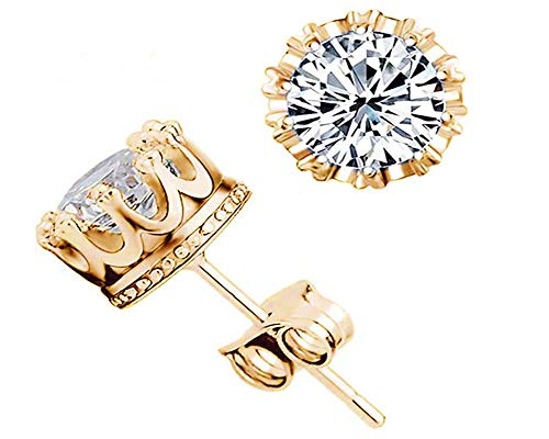 Pendientes de corona con adornos de diamantes populares joyería Pendientes de circonita hembra de plata