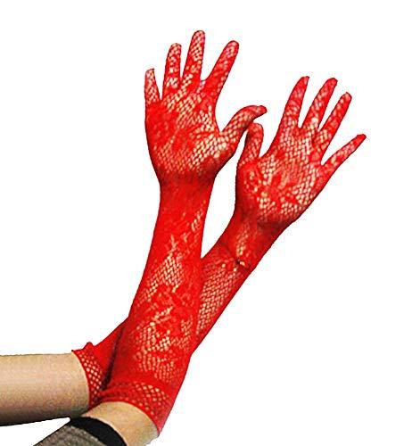 Lange handschoenen dames - vrouw - geborduurd met gaas - elegant - rood - stretch - origineel cadeau-idee