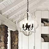 Fabulis 4-Light Farmhouse Orb Chandelier, Hand-Painted Distressed Wood Hanging Island Light Fixture for Dining Foyer Entryway Lighting (White, 4-Light)