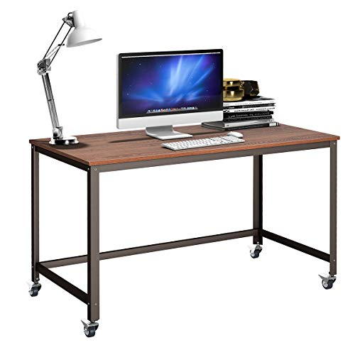 TANGKULA Mobile Computer Desk, Simple Style Rolling Home Office Desk Study Table Writing Desk, Movable Workstation with 4 Smooth Wheels, Home Office Work Table (Home)