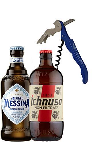 Sicilia Bedda - Box Degustazione BIRRA ICHNUSA NON FILTRATA e BIRRA MESSINA CRISTALLI DI SALE - Con Elegante Apribottiglia (24 Bottiglie da 33 CL)