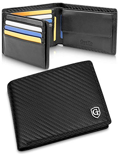 GenTo® Manhattan Herren Geldbörse mit Münzfach - TÜV geprüfter RFID, NFC Schutz - geräumiges Portemonnaie - Geldbeutel für Männer - Portmonaise inkl. Geschenkbox (Carbon)