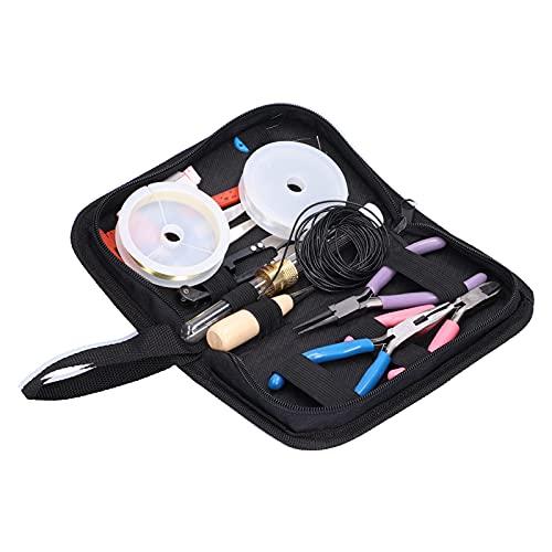 Juego de fabricación de joyas, kit de fabricación de pulseras, suministros para hacer bricolaje de joyería con abalorios, con alicates de punta redonda y alicates para cortar alambre, para profesional