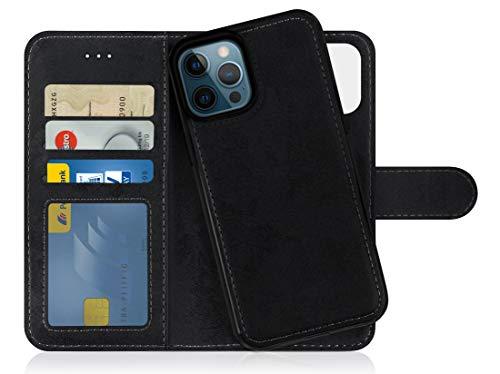 MyGadget Funda Flip Case con Tapa Tarjetera para Apple iPhone 12 Pro MAX en Cuero PU - Carcasa Cerrada con 9 Bolsillos - Cubierta Magnética Separable - Negro