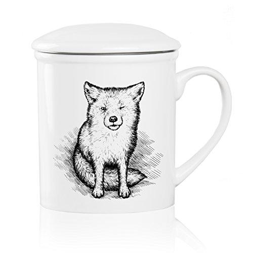 We Love Home - Taza de té de porcelana con tapa + filtro metálico inox 25 cl. estilo nórdico modelo Little Fox