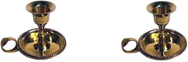 AzureGreen Brass Chamberstick Tapered Candle Holder - Pack of 2