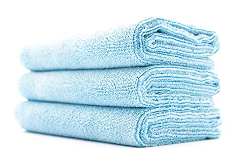 (3-Pack) THE RAG COMPANY 16 in. x 27 in. Sport, Gym, Exercise, Fitness, Spa & Workout Towel - Ultra Soft, Super Absorbent, Fast Drying 320gsm Premium Microfiber (Light Blue, 16x27)