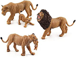 Warmtree Simulated Wild Animals Model Realistic Plastic Action Figure for Kids' Collection Science Educational Toy (Lions Family)