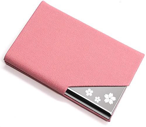 Xsimant 名刺入れ 角が折れない メンズ 名刺ケース 柄 マグネット式 1秒開閉 ビジネス (桜の風車柄 ピンク)