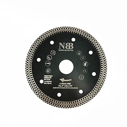 NBB Disco de corte de diamante con Malla Turbo cruzado, profesional, fino, para cerámica, baldosas, porcelana, gres, mármol,en seco o húmedo,corte limpio,árbol 22,23 mm,para amoladora angular(1,125mm)
