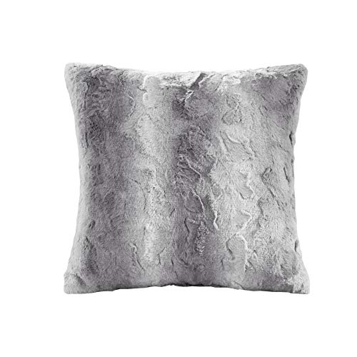 Madison Park Zuri Faux Fur Ombre Stripe Ultra Soft Luxury Decorative Throw Pillows for Couch Bed with Insert, 20x20, Grey