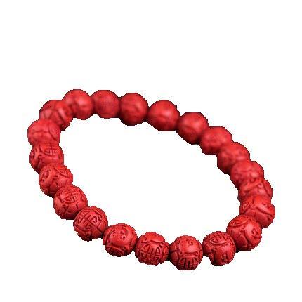 ZHIBO Braccialetto naturale con perline di loto di cinabro, braccialetto da uomo