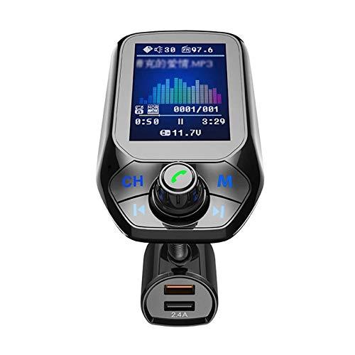 Cargador Coche Coche Reproductor de MP3 multifunción BT5.0 FM Transmisor Dual USB Cargadores de Soporte de Manos Libres de Manos Libres TF U Disk Music Play Compatible con Android e iOS