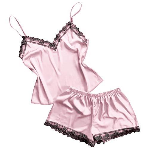 Mujer Conjuntos de Lenceria Sexy Mujer Ropa de Noche de Encaje Sexy para Mujeres Cami Top y Pantalones Cortos Pijama Interior Tentación Babydoll Camisón Camisas Crop (Rosado)