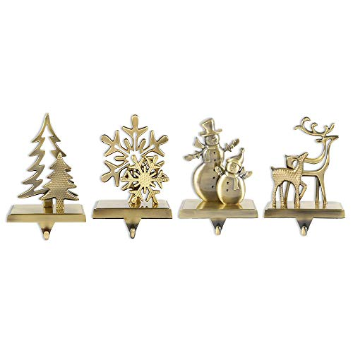 Little grass 4Pcs Christmas Stocking Holder,Xmas Stocking Hangers for Fireplace Mantle Free Standing Indoor Snowman Deer Snowflake Xmas Tree Decorations