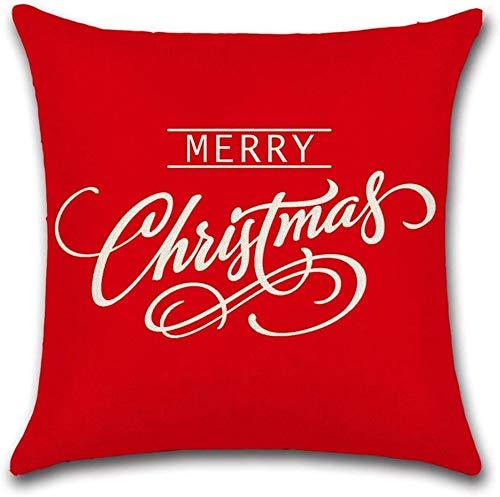 Feliz año Nuevo Feliz Navidad Decoraciones Funda de Almohada de Lino Rojo Decoración para el hogar Bonito Regalo Funda de Almohada de Lino Interior Cuadrada Tamaño estándar: (16 × 16)