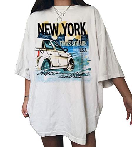 Onsoyours Vintage Oberteile Damen Oversized Tshirt Lustig Streetwear Sonne Mond Motiv Sportshirt Kurzarm Sport Oberteile Sweatshirt Rundhals Teenager Mädchen Top Lang Z13 Weiß XS