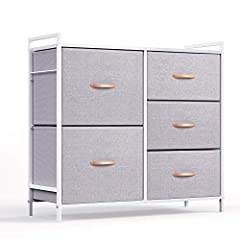 Multifunction Cabinet: 5 Collapsible drawers include 2 sizes to satisfy your different storage needs, shelving things as you wish on top board. Eco-Friendly Material & Sturdy Structure: Combine MDF board with durable steel frame. Cross support bar an...