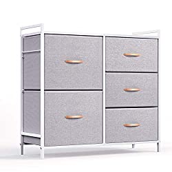 ROMOON Dresser Organizer with 5 Drawers, Fabric dresser tower for Bedroom