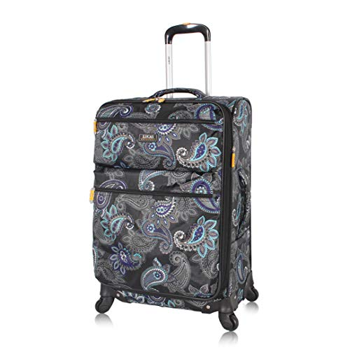 Lucas Designer Luggage - Expandable 28 Inch Softside Bag with Pattern- Durable Large Ultra Lightweight Checked Suitcase with 8-Rolling Spinner Wheels