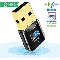 SUPOLA USB WiFi Adaptador, WiFi Antena 600Mbps Mini USB WiFi Dual Band 2.4G/5G, Receptor WiFi para PC Laptop Desktop,WiFi Dongle Soporte Windows10/8/7,MacOSX10.6-10.14, No se Necesita CD