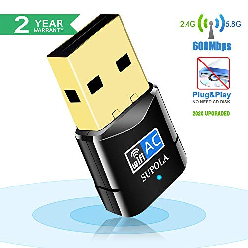 SUPOLA USB WiFi Adaptador, WiFi Antena 600Mbps Mini USB WiFi Dual Band 2.4G/5G, Receptor WiFi para PC Laptop Desktop,WiFi Dongle Soporte Windows10/8/7,MacOSX10.6-10.14, No se Necesita CD