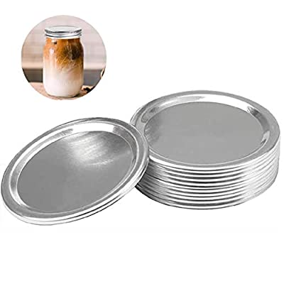 Mason Jar Lids for canning, Regular mouth, Split-Type Lids, Canning Lids, Storage Metal Caps (12pc,Silver)