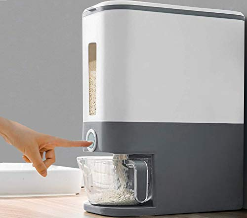 U-miss 25 Lbs Rice Dispenser, Large Grain Container Storage with Lid Measuring Cylinder Moisture Proof Household Cereal Dispenser Bucket for Kitchen Soybean Corn