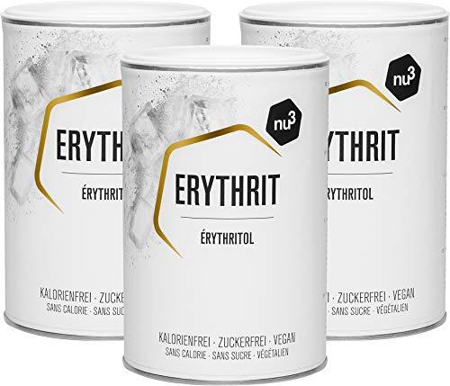 nu3 Erythrit Zucchero Eritritolo 3x 750 g - Dolcificante Senza Calorie + Indice Glicemico Zero - Sweetener Sostituto Zucchero per Diabetici/Celiaci - Grana Grossa