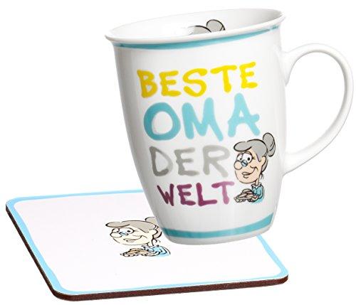 """Ritzenhoff & Breker 035988 Lot de 2 tasses à café avec inscription en allemand """"Beste Oma der Welt"""" (meilleure grand-mère du monde) et sous-tasses assorties"""