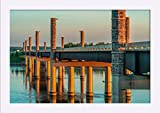 Yanton, South Dakota - New Discovery Bridge with Sunset Orange Light A-9011201 (18x12 Giclee Art Print, Gallery Framed, White Wood)